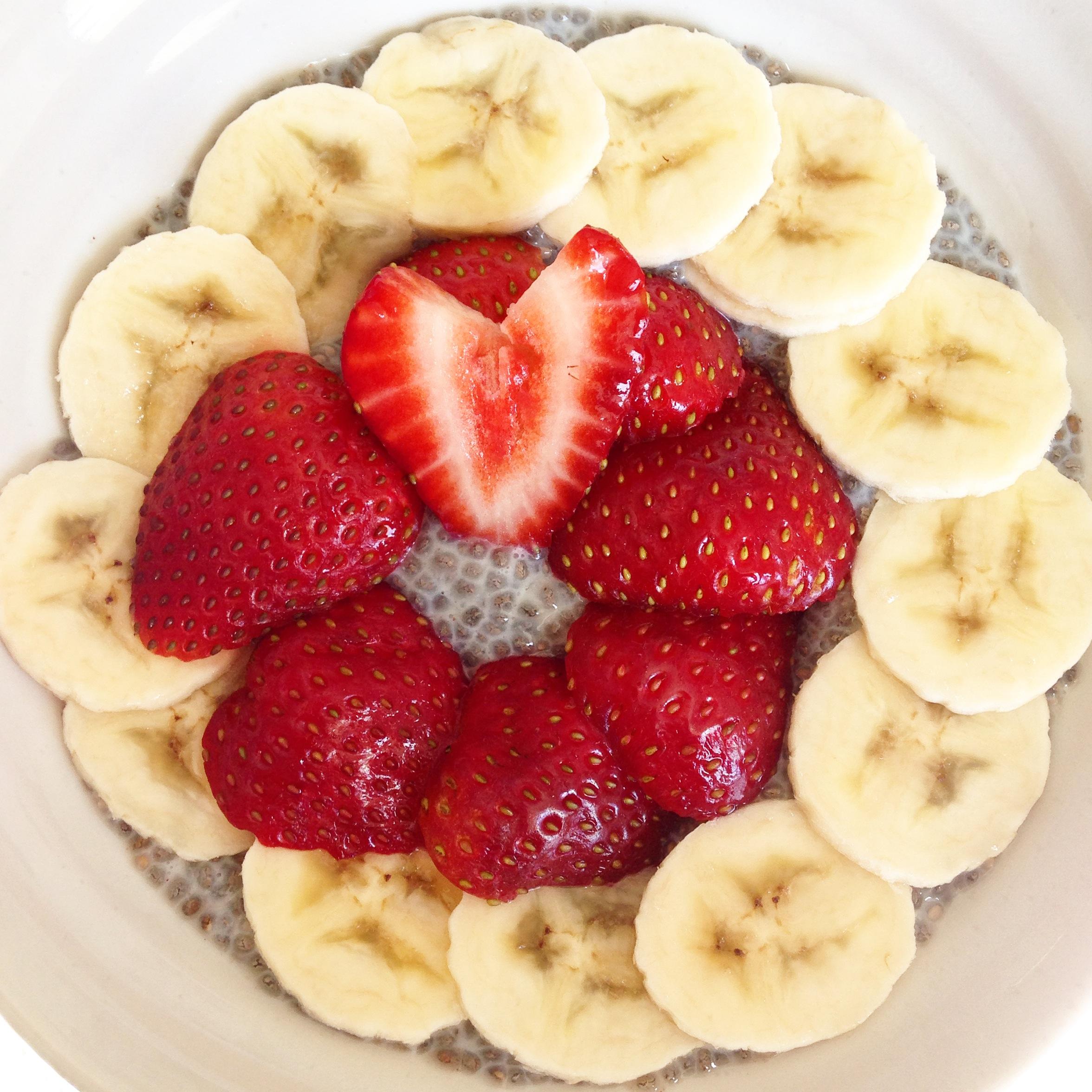 Strawberry and banana chia pudding.