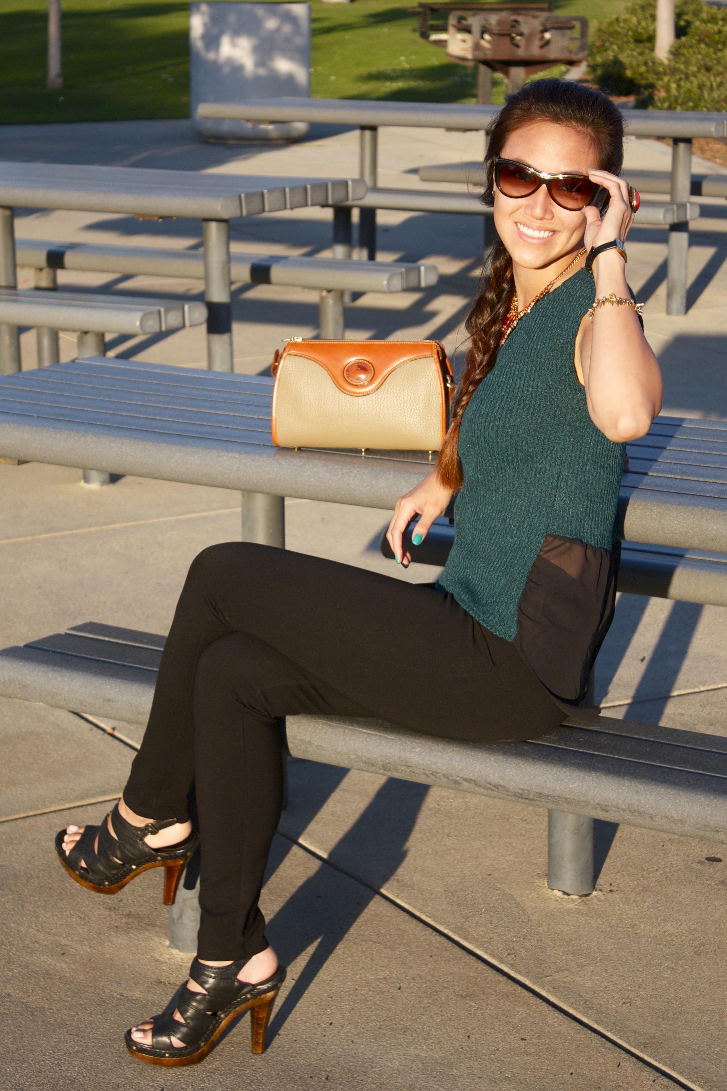 Picnic bench sunglasses shot