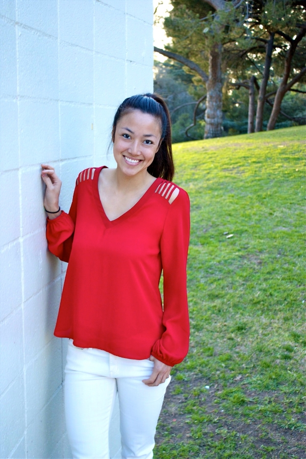 3/4 shot red shirt