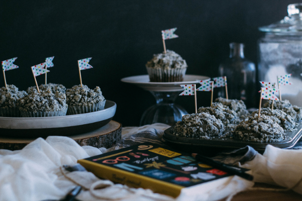 black sesame muffin display
