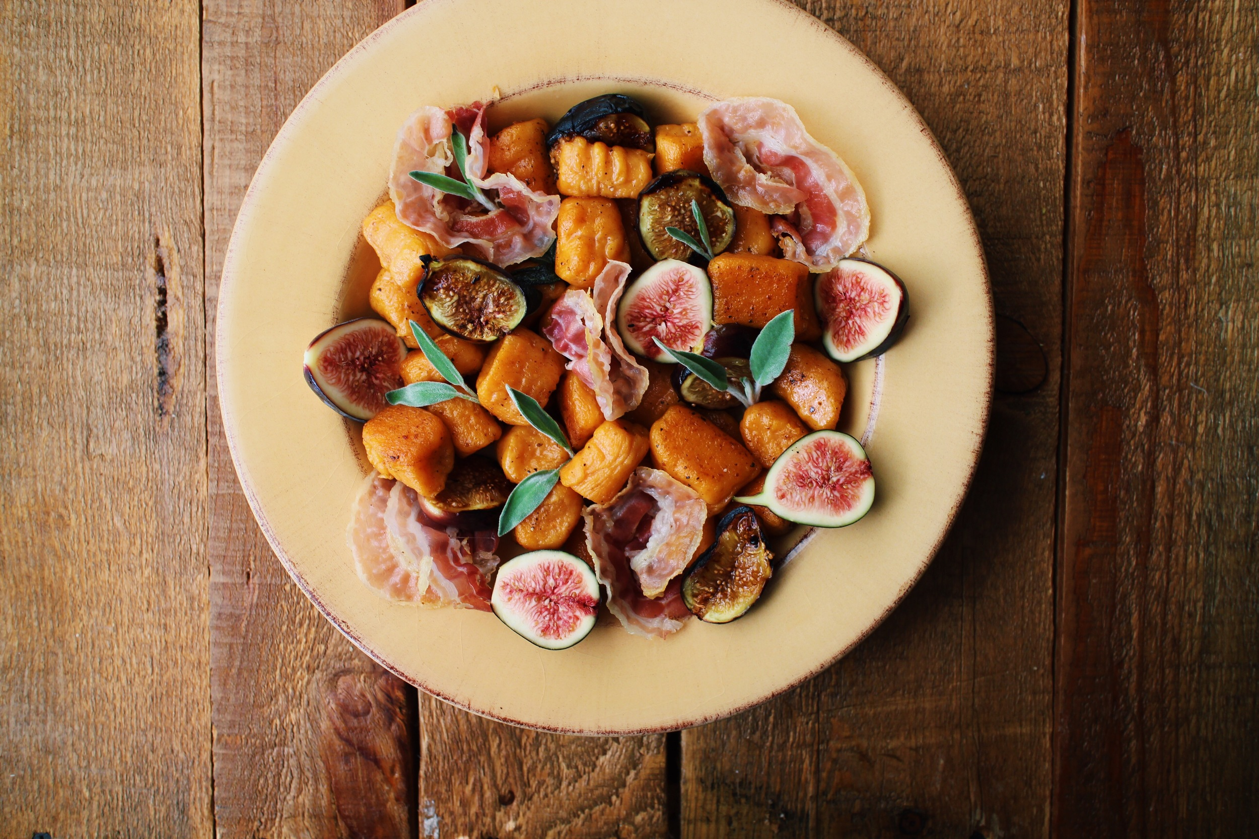 sweet potato gnocchi with fig and pancetta
