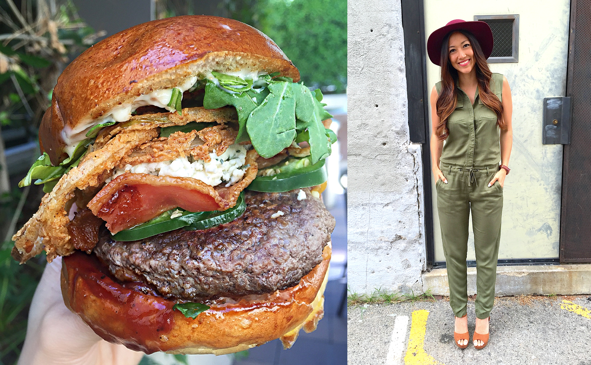 Postmates burger H&M outfit stir and style