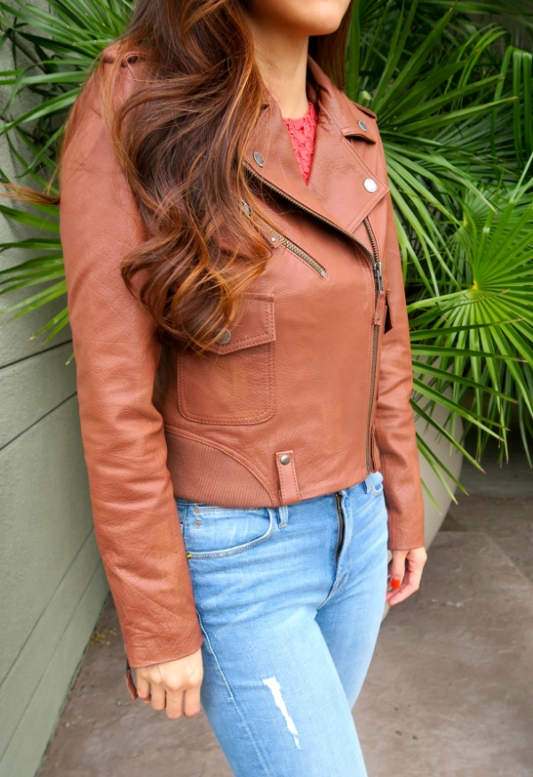Members Only leather biker jacket