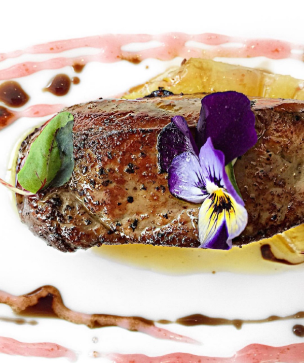Pan seared foie gras with grilled pineapple and balsamic plum wine sauce
