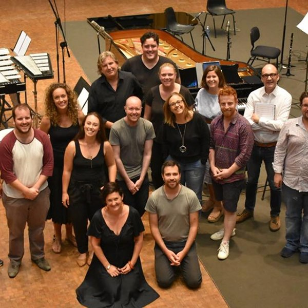 The Song Company & Syzygy Ensemble at ABC Adelaide recording 'Hidden Thoughts'. Also, composer Katy Abbott and director Thomas de Mallet Burgess. Image: Antony Pitts.