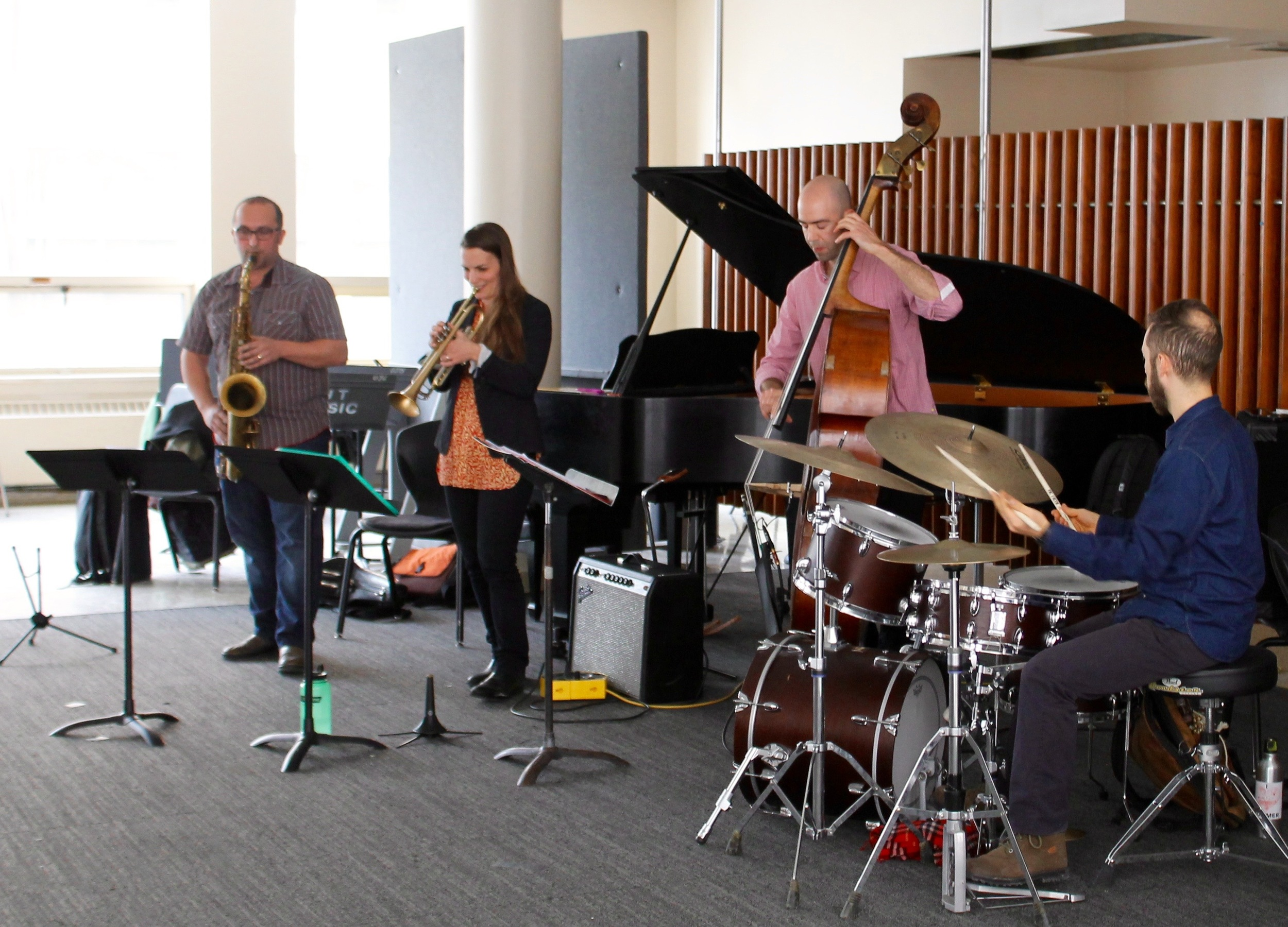 University of Toronto master class with jazz group Way North consisting of Petr Cancura on Saxophone, Rebecca Hennessy on Trumpet, Michael Herring on Bass, and Richie Barshay on Drums - Mar. 2016