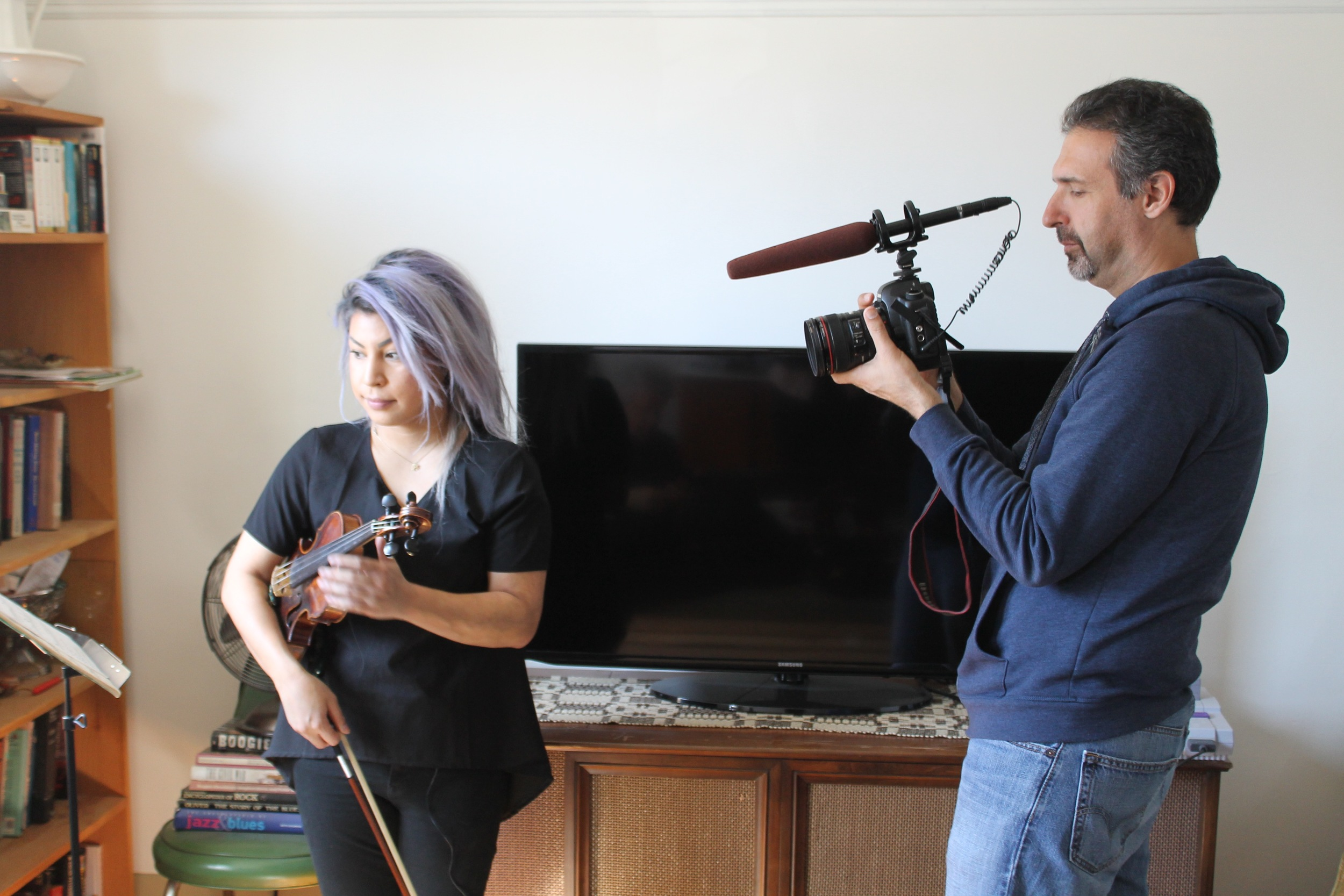Singer, violinist and musician Maya Killtron (left) with cinematographer Igal Hecht (right) - Apr. 2016