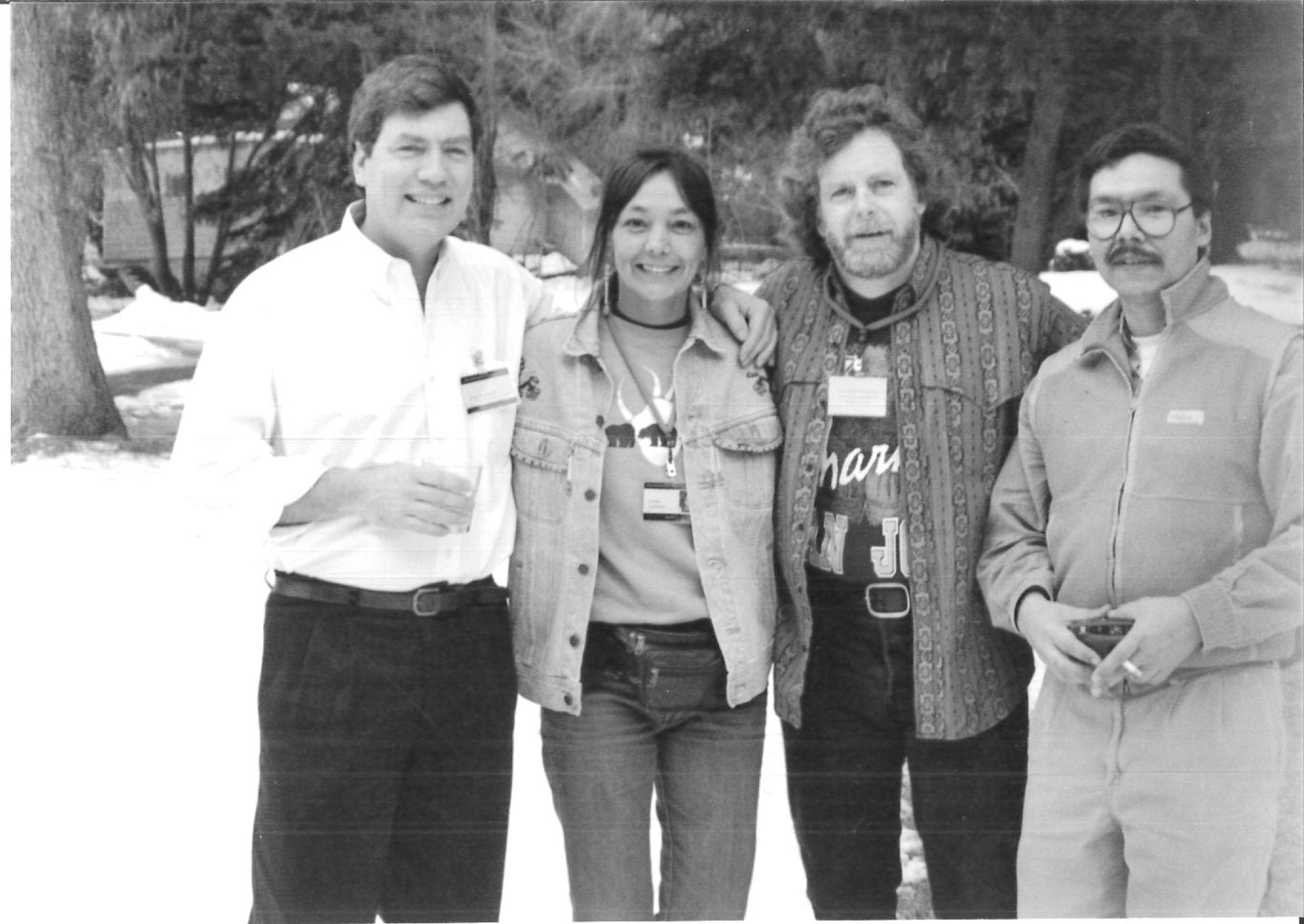 Peter Raymont, Tantoo Cardinal, James Cullingham and David Poisey.  Sundance Film Festival 1994