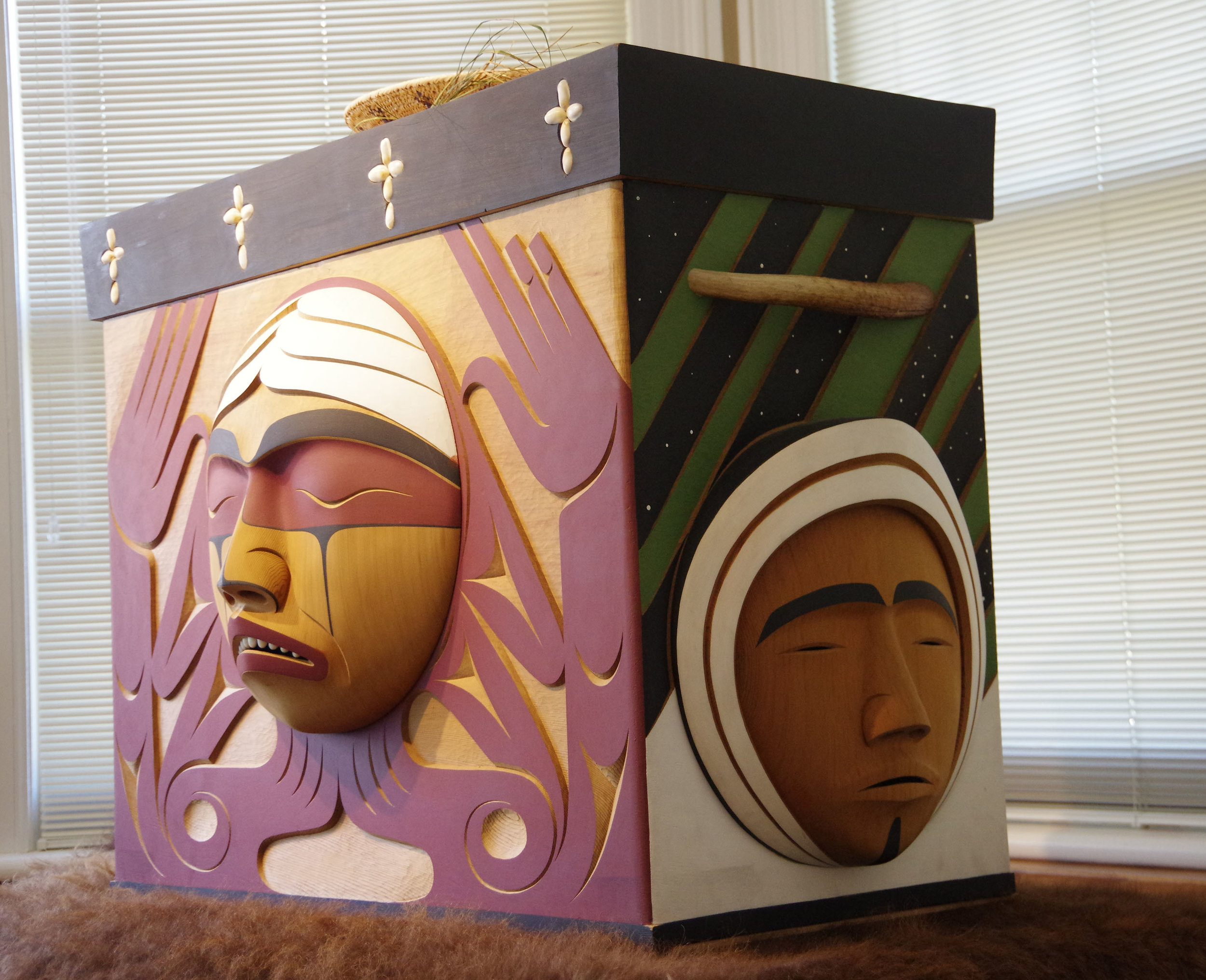 Bentwood box at NCTR. The box was used to hold testimony, gifts and medicines offered as the TRC toured Canada.