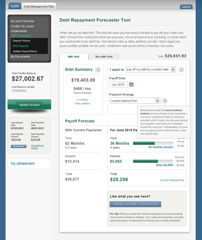 Debt Repayment Calculator UI Design