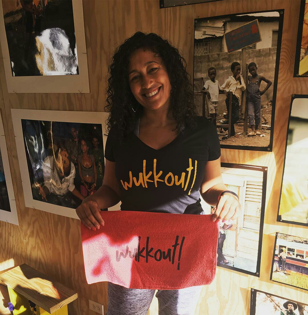 "Wukkout!® Founder, Krista Martins, in the caribBEING House at ""After the Fete."""