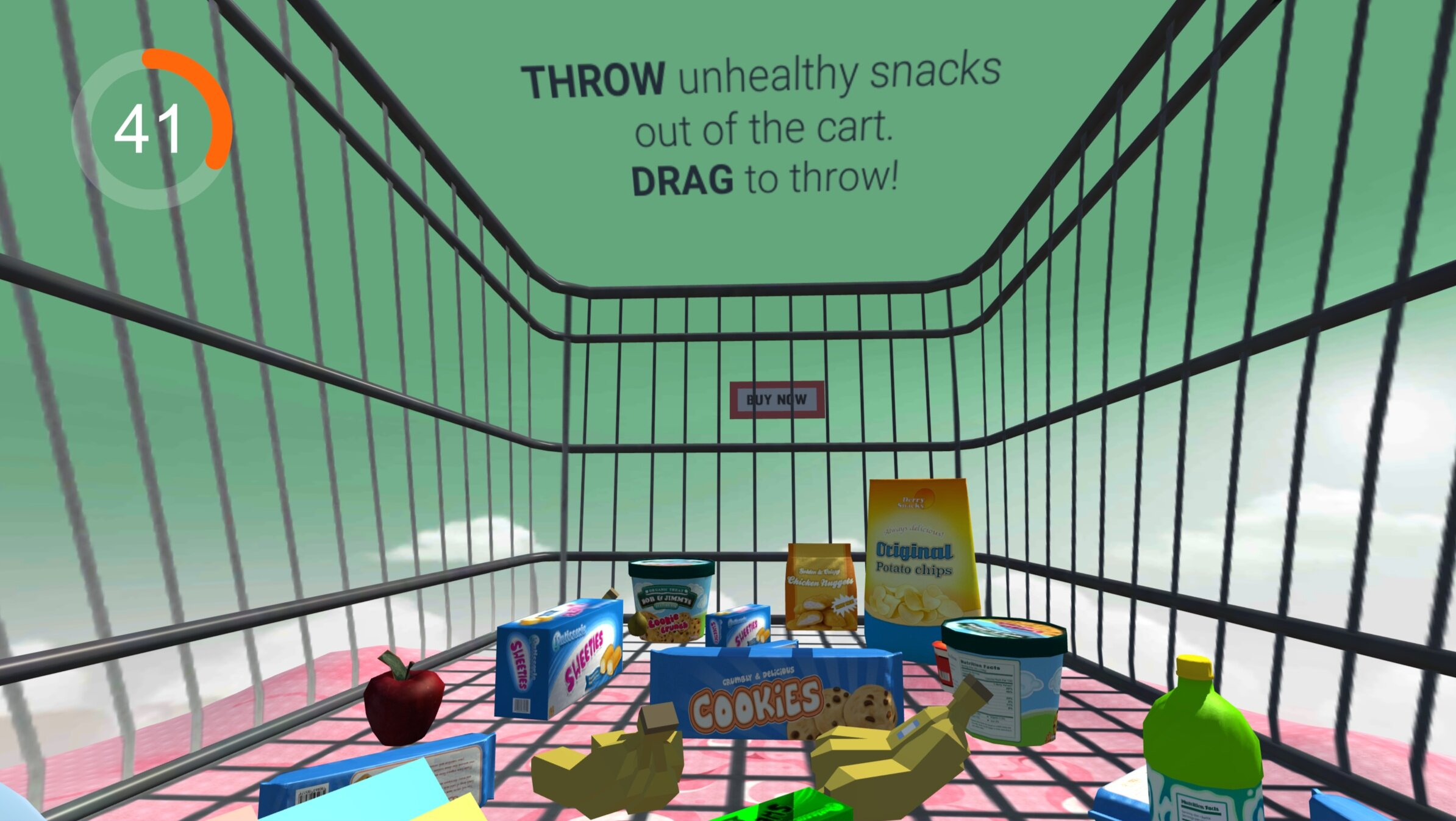 Second Prototype  | A drag and throw junk food out of the shopping cart experience. Built with Lenovo Mirage Solo.