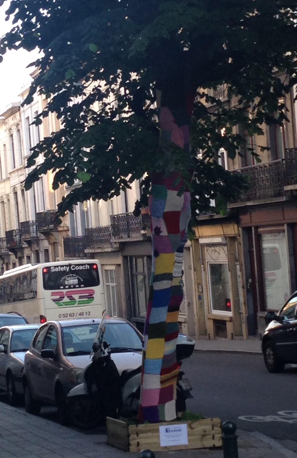 Ch d'Ixelles yarn bomb squares.JPG