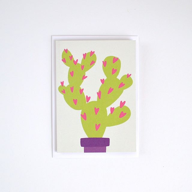 "Hello and happy Saturday, everyone. Hope you're having a nice start weekend. ⭐ Here comes another all-occasion everyday card. I showed it to a friend of mine who said, ""that's perfect because love can be prickly."" I didn't even think of that when making this card but it's so true. Raise your hand if you agree! ✋🌵 . . . . . . . . . . . #hugoandmat #stationery  #papergoods #papeterie #etsy #etsyfind #cactusillustration #loveandfriendship #shopsmall #madeinberlin #snailmail #lovethelittlethings #creativeliving #etsylent #waketomake #cards #greetingcard #paperporn #seekinspirecreate #asecondofwhimsey #daysofsmallthings #paperlove #stationerylover"