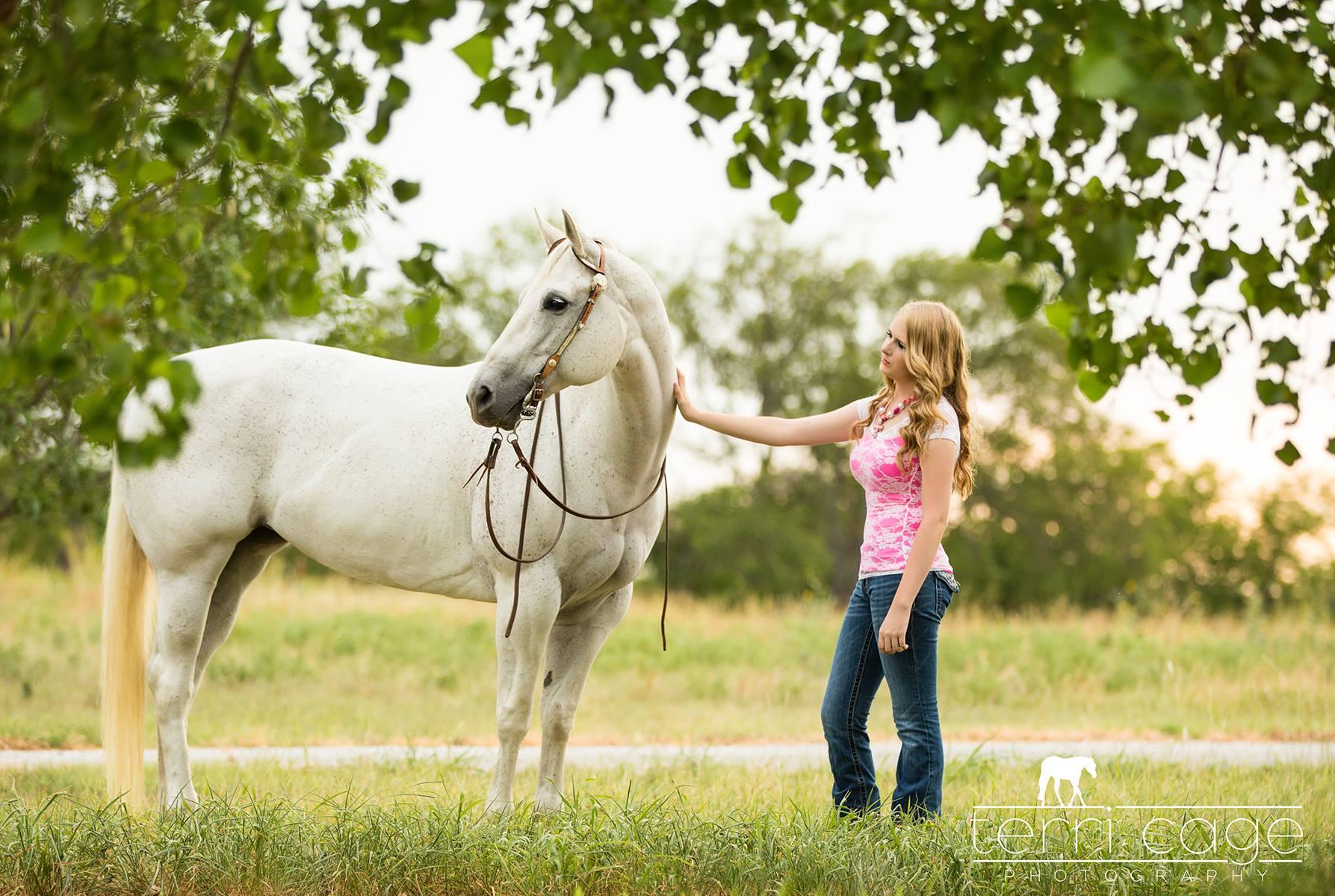senior girl with horse