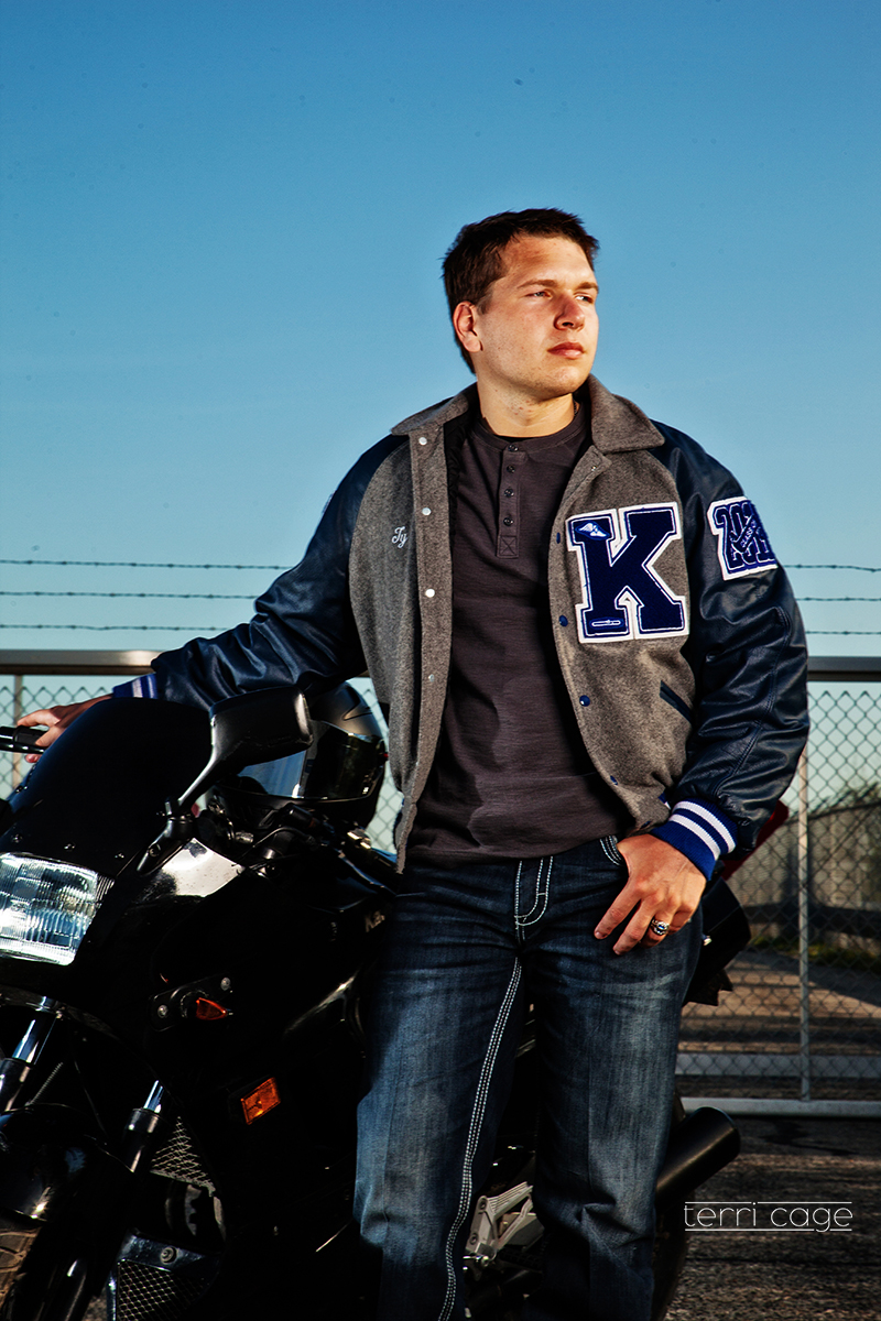 senior guy with motocyle