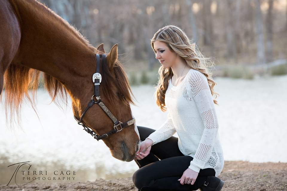 Senior with horse profile shot