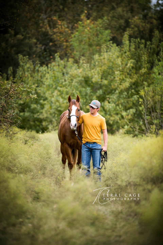 senior guy pose with horse