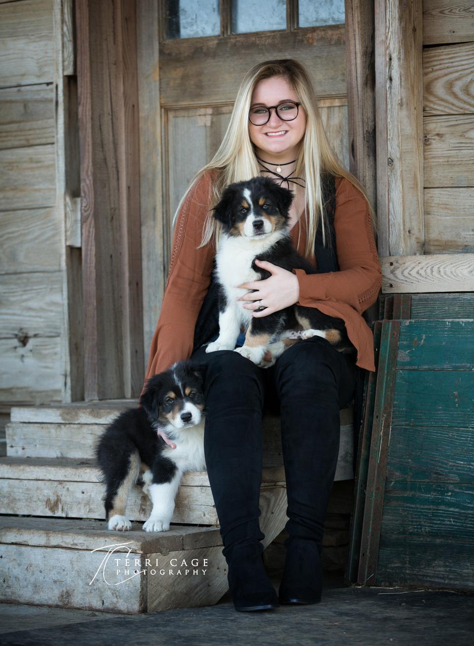 Senior photo with dog