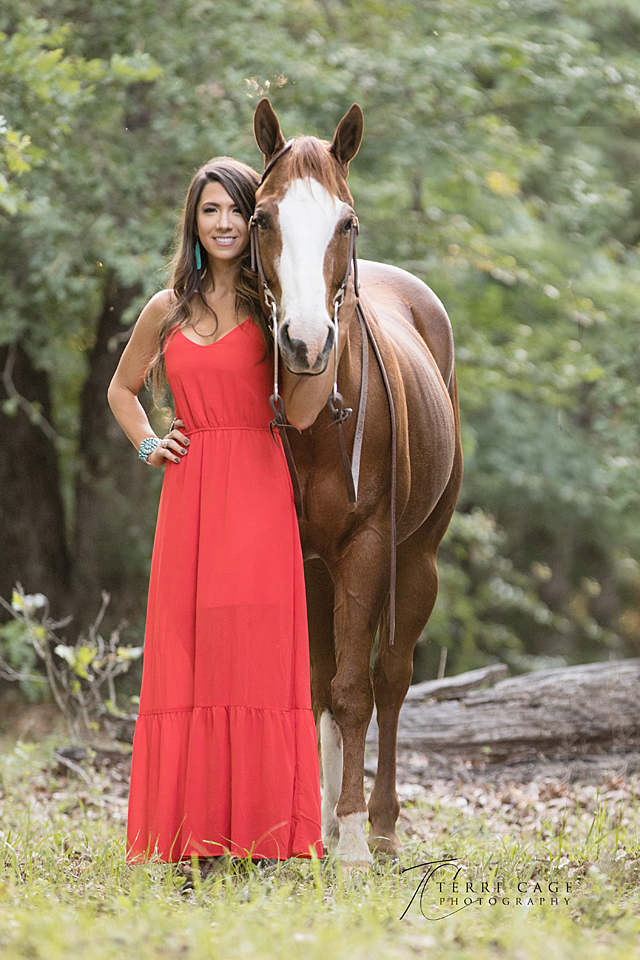 girl in dress with horse, aubrey texas, xo ranch,