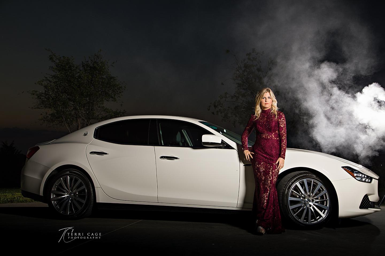 senior portraits with car, maserati, atmosphere aerosol, smoke, Alien bees, dramtic
