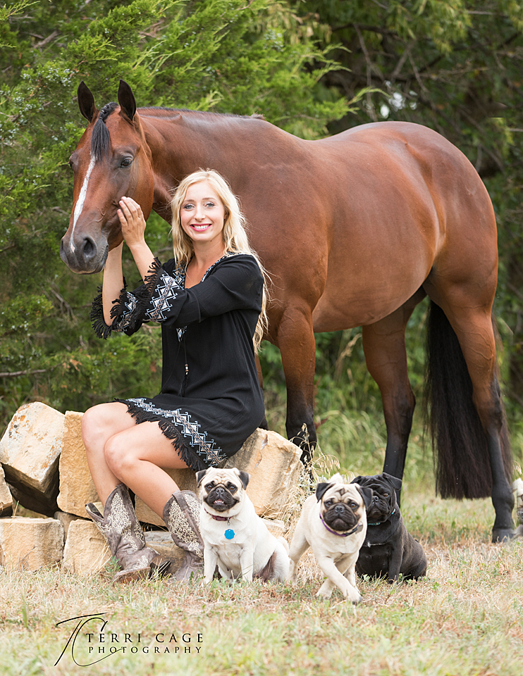 Horse and humans and dogs