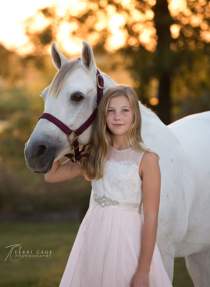 girl and horse, golden hour