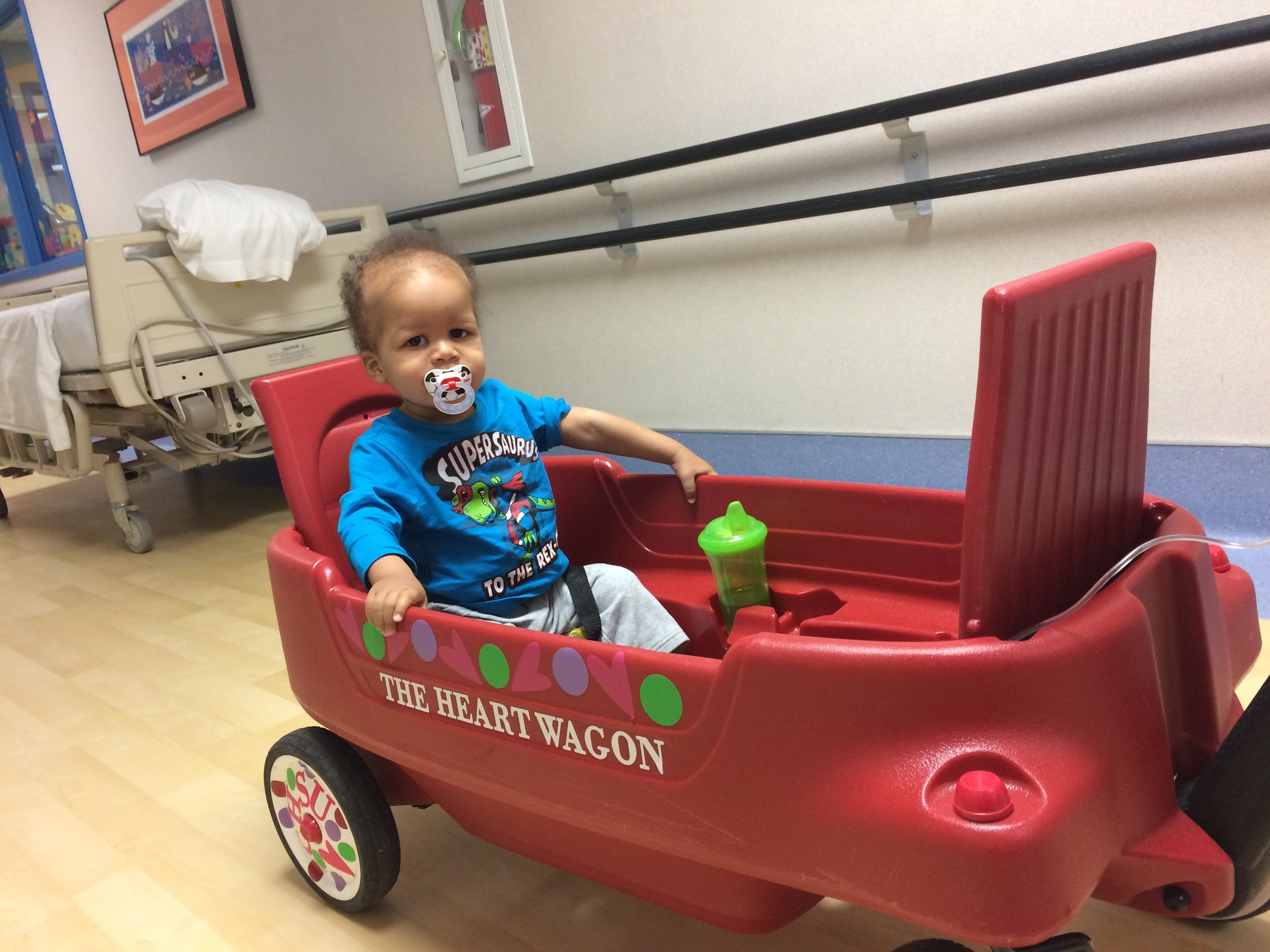 It was kind of appropriate that this wagon was from the Congenital Heart Surgical Unit (CHSU) since that was the unit he was first admitted to when we initially came to the hospital.  If you recall the pictures from day 1 when he was connected to everything, that was in the CHSU