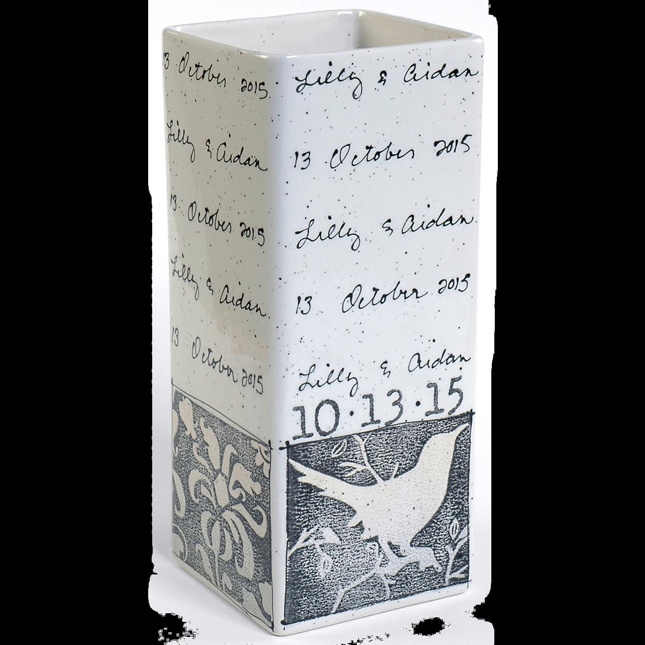 Bird Cursive Wedding Vase