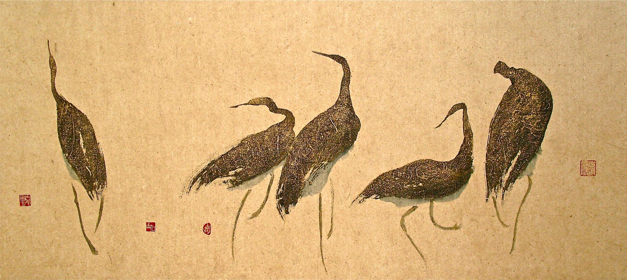 """dancing herons, 55x25"""""""