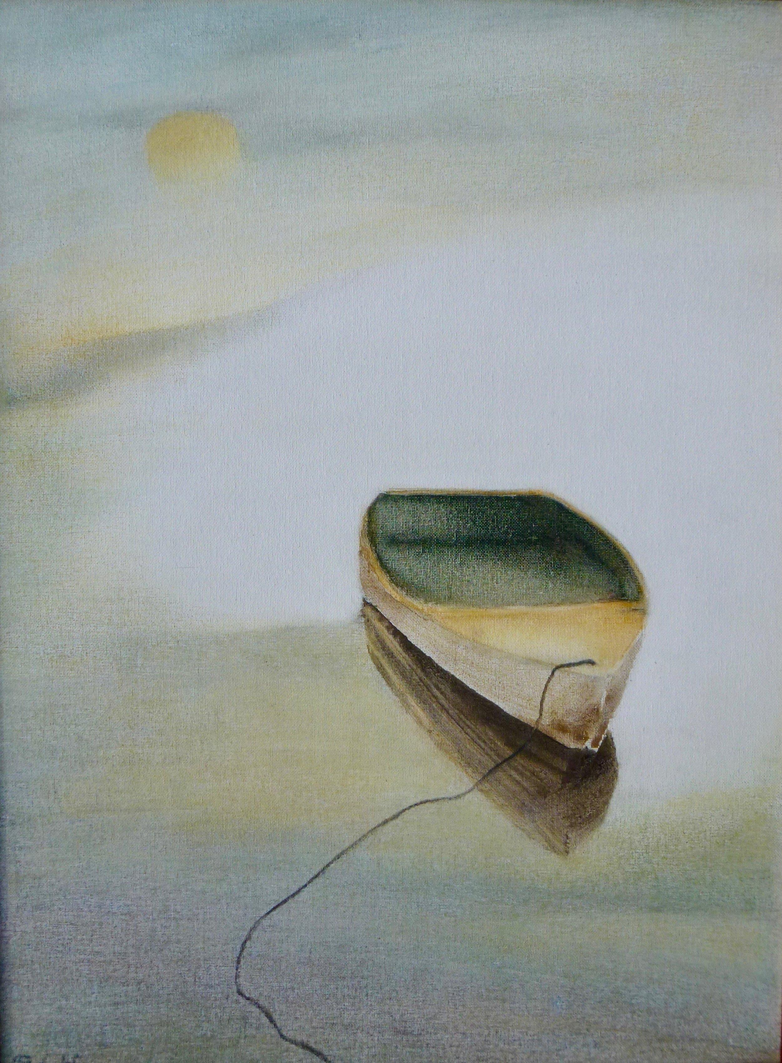 "boat & moon, 24x18"""