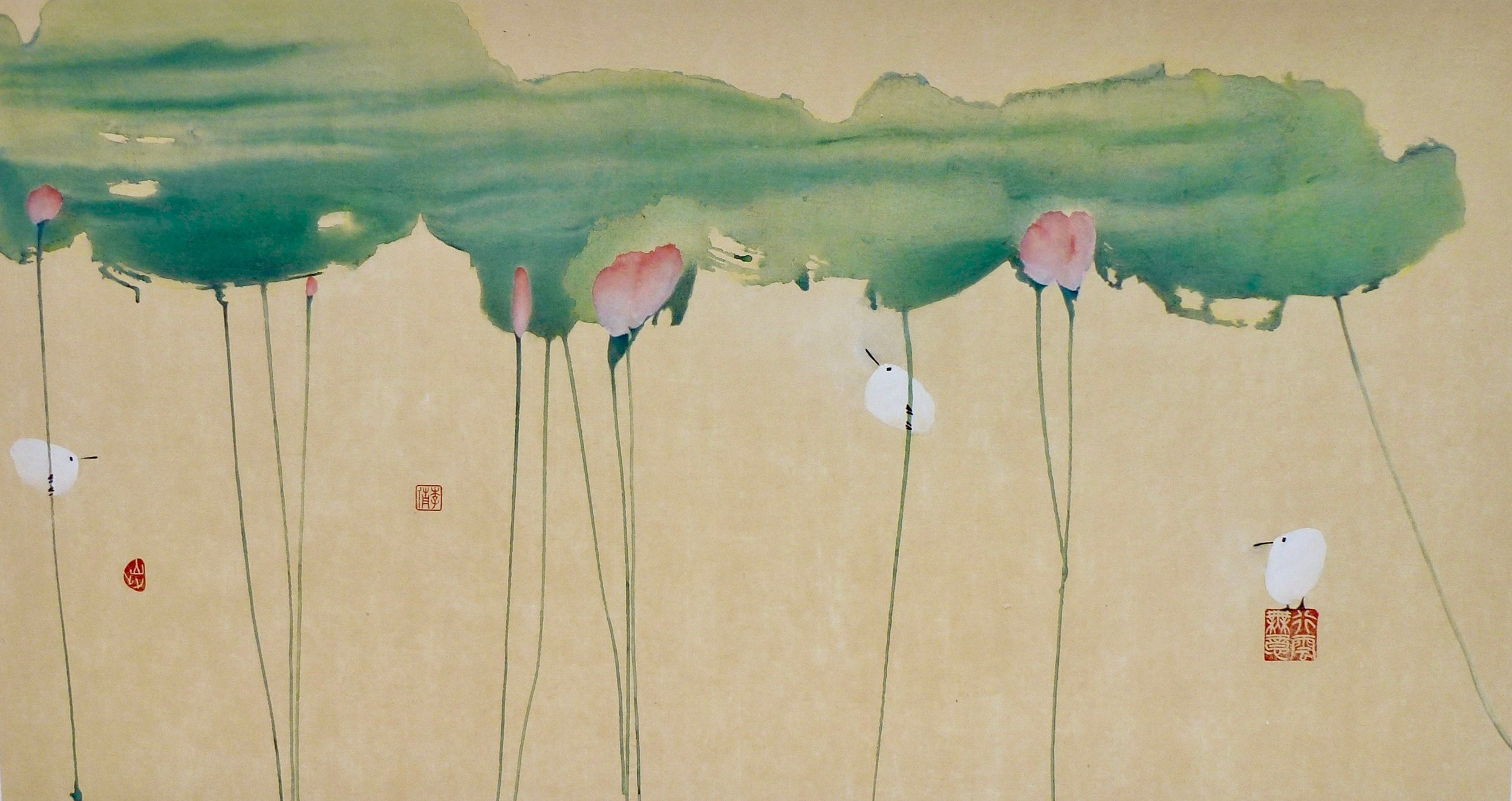 birds in lotus pond, 52x30""