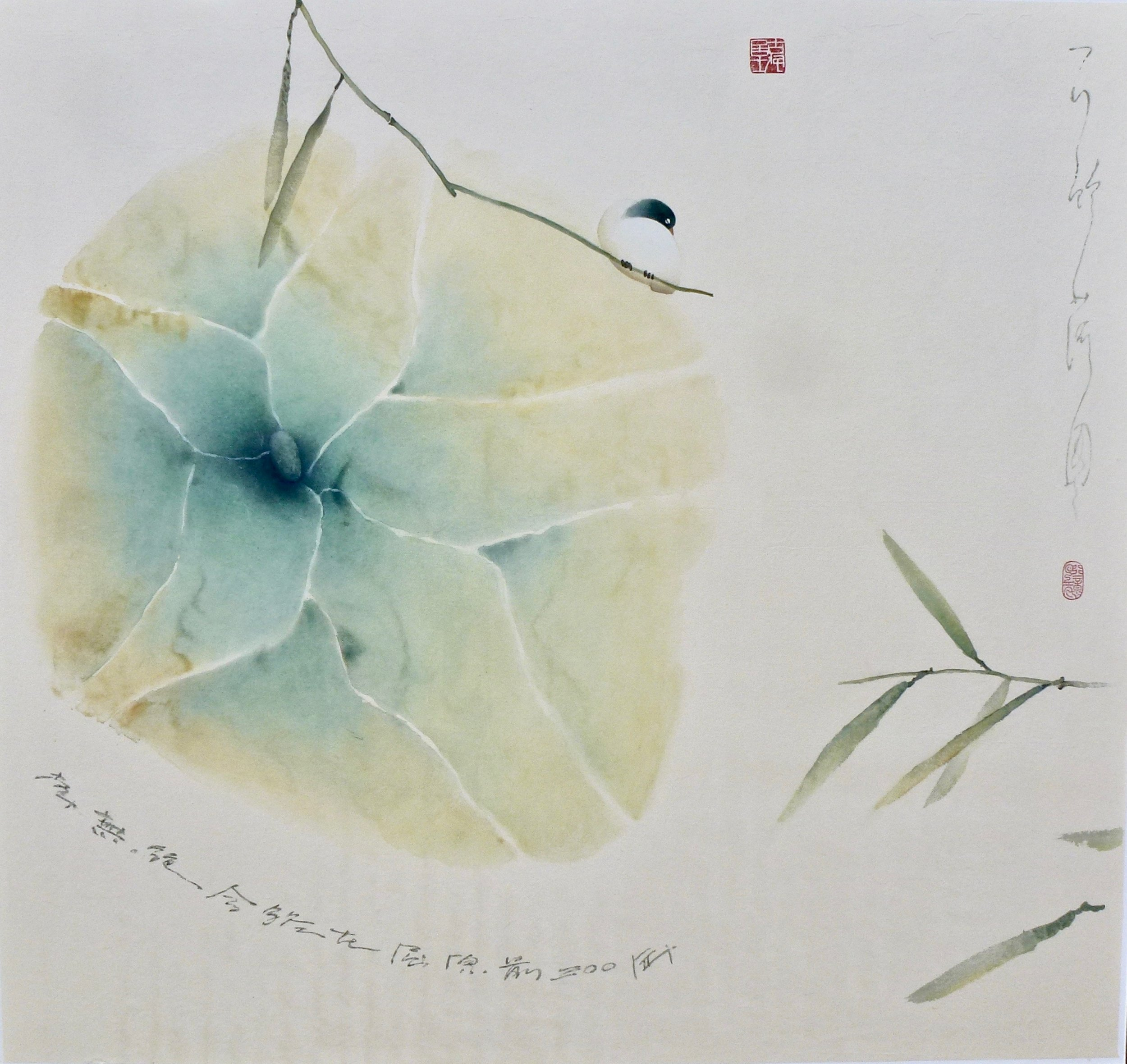 bird, lotus, bamboo, 31x31