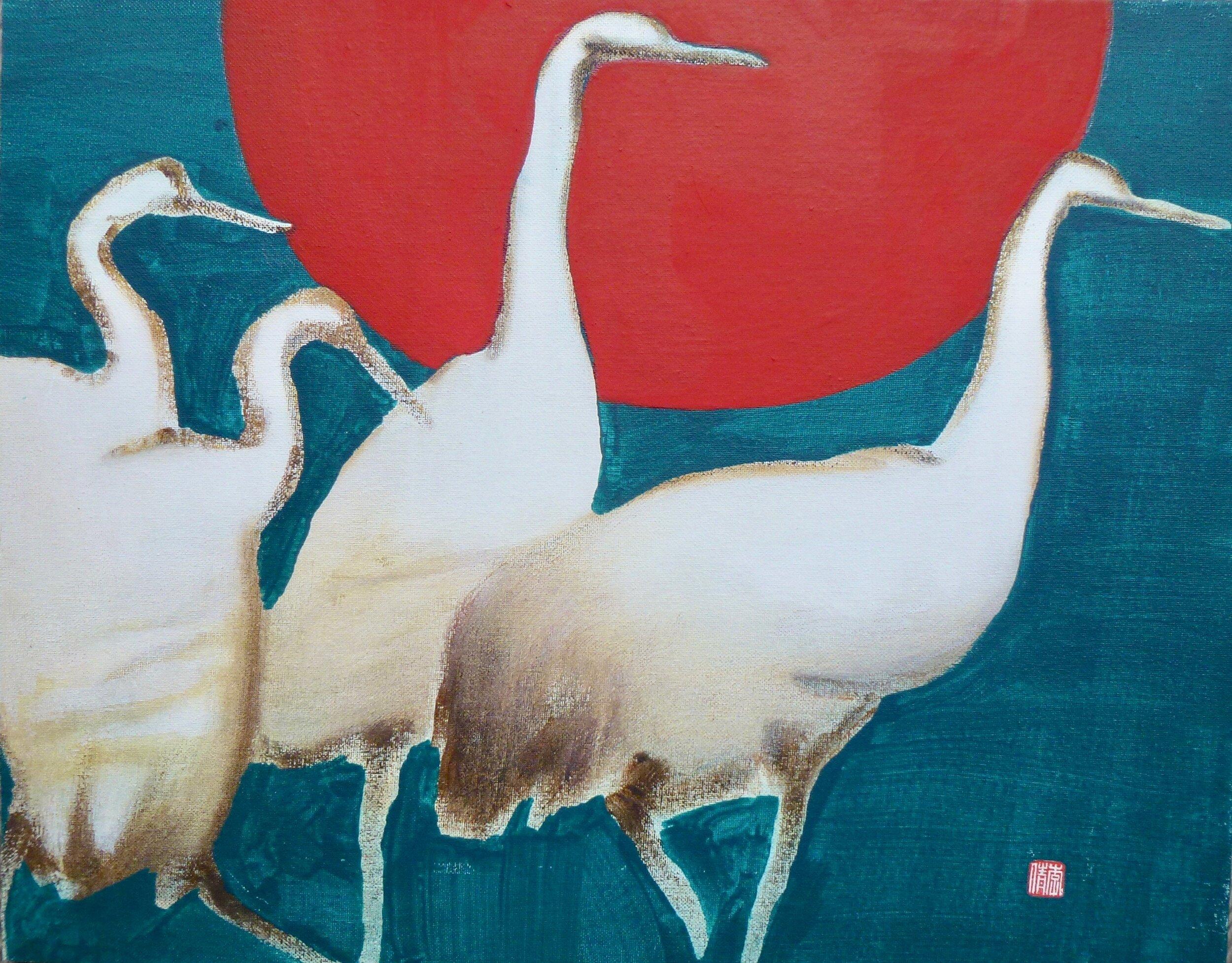 """four birds & sun, 16x20"""""""