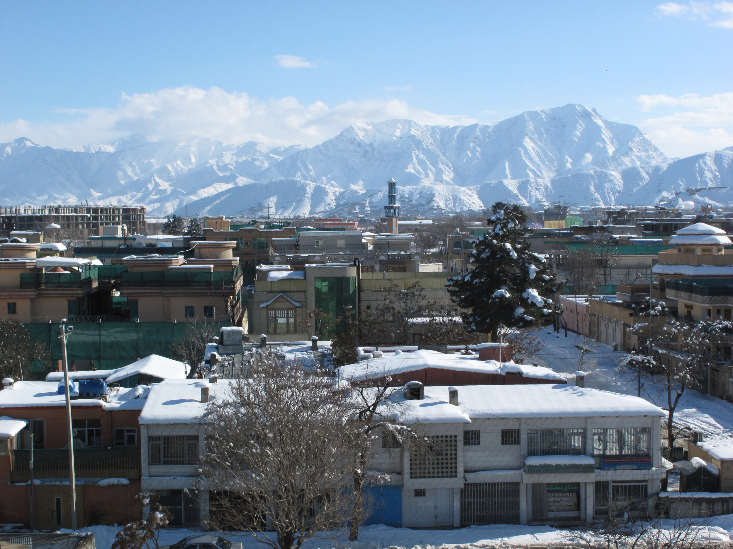 Rooftop view, during the coldest winter in 25 years, Kabul, Afghanistan