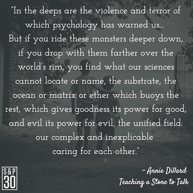 "A powerful insight. Don't let pain prevent you from love. ⠀ -⠀ ""In the deeps are the violence and terror of which psychology has warned us... ⠀ But if you ride these monsters deeper down, if you drop with them farther over the world's rim, you find what our sciences cannot locate or name, the substrate, the ocean or matrix or ether which buoys the rest, which gives goodness its power for good, and evil its power for evil, the unified field: our complex and inexplicable caring for each other."" - Annie Dillard⠀ .⠀ .⠀ #anniedillard #teachingastonetotalk #writerquotes #writers #writerquotes #writer  #compassion #inspiration #inspiring #inspiringquote #inspiringquotes #inspiredlife #lifeinspired #quote #quotes #quotepic #dailywisdom #instaquote #qotd #quoteoftheday #instaquote #happiness #happinessquotes #behappy #wellness #love #loveoneanother #loveeachother #riseabove"