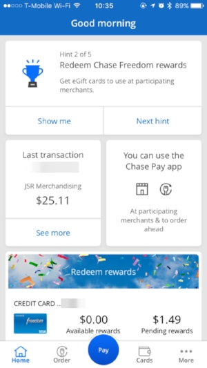 Chase Pay's home screen (iOS)