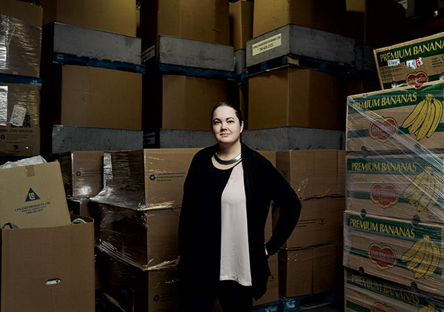 Tamisan Bencz-Knight, manager of strategic partnerships with the Edmonton Food Bank, has seen demand skyrocket   Photographs by Pedersen and Bryce Meyer