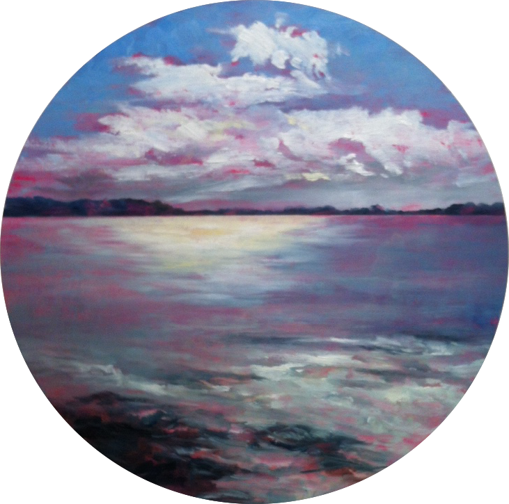 Afternoon Blaze, Oil on Board, 50cm diameter, Sold
