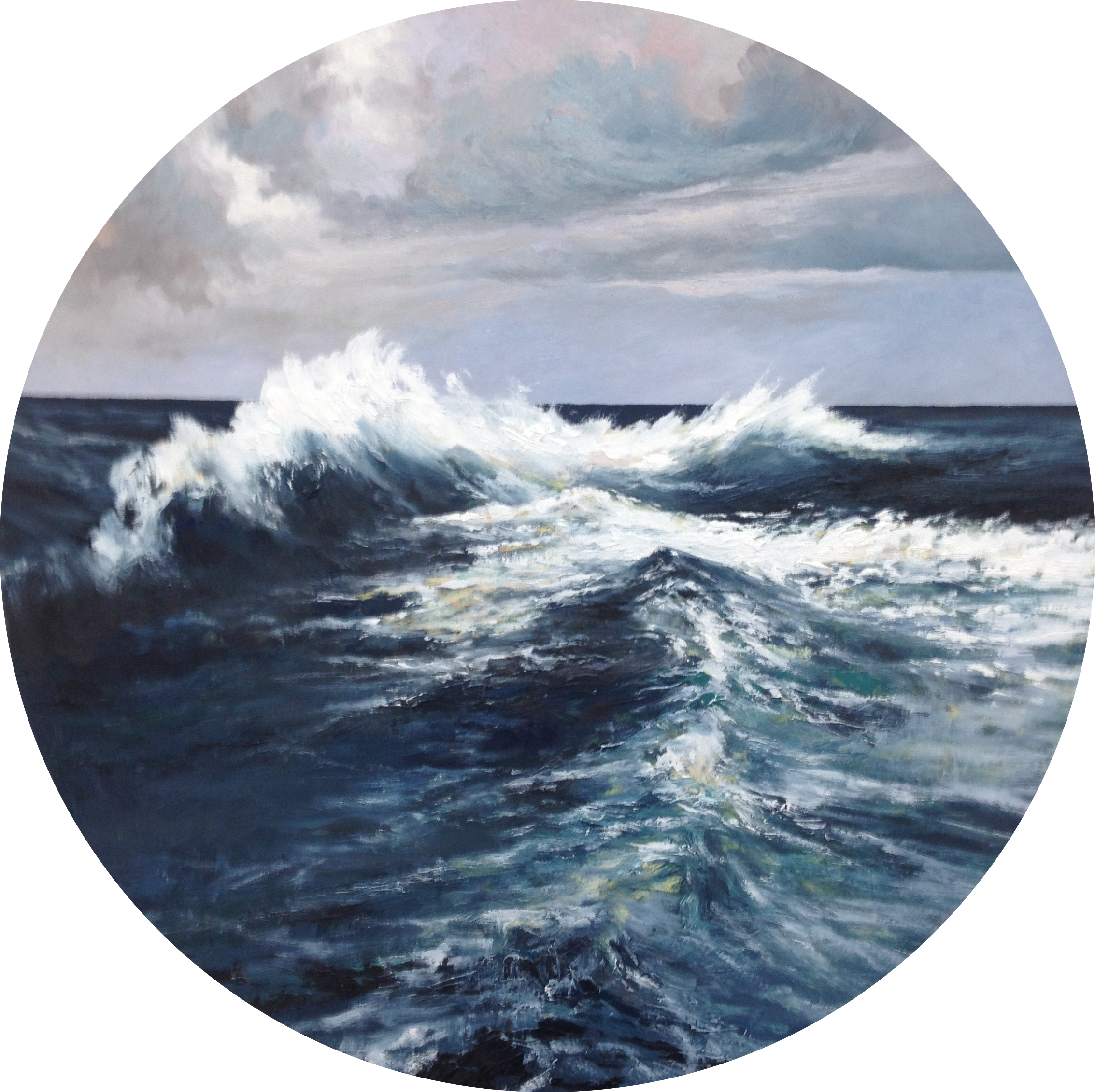 A recent painting, made to accompany Ravel's beautiful piece 'Jeux d'eau'. I haven't titled it yet, it is 60cm diameter, oil on beech, $650. Please contact me if you'd like to see it 'in the flesh'.