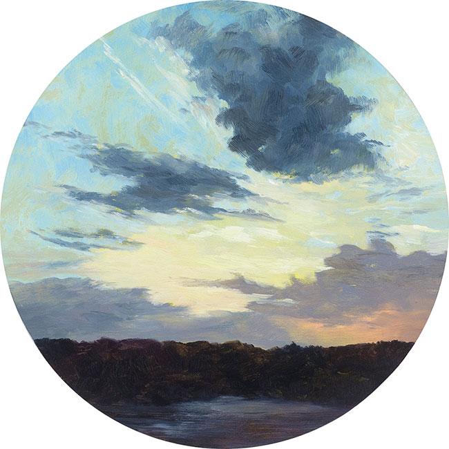 Last Light, Oil on board, 30cm d, Sold