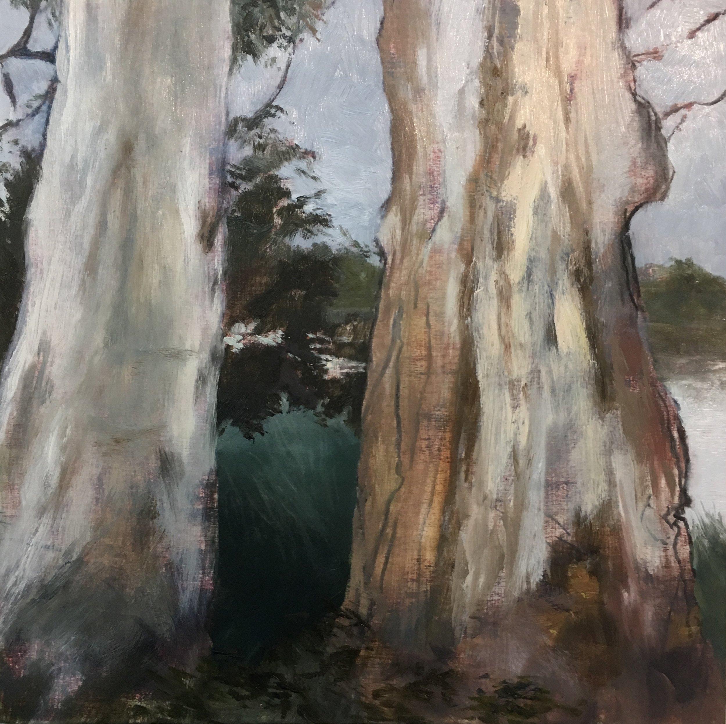 Lagoon Sentinels I, Oil on board, 30 x 30cm, $880
