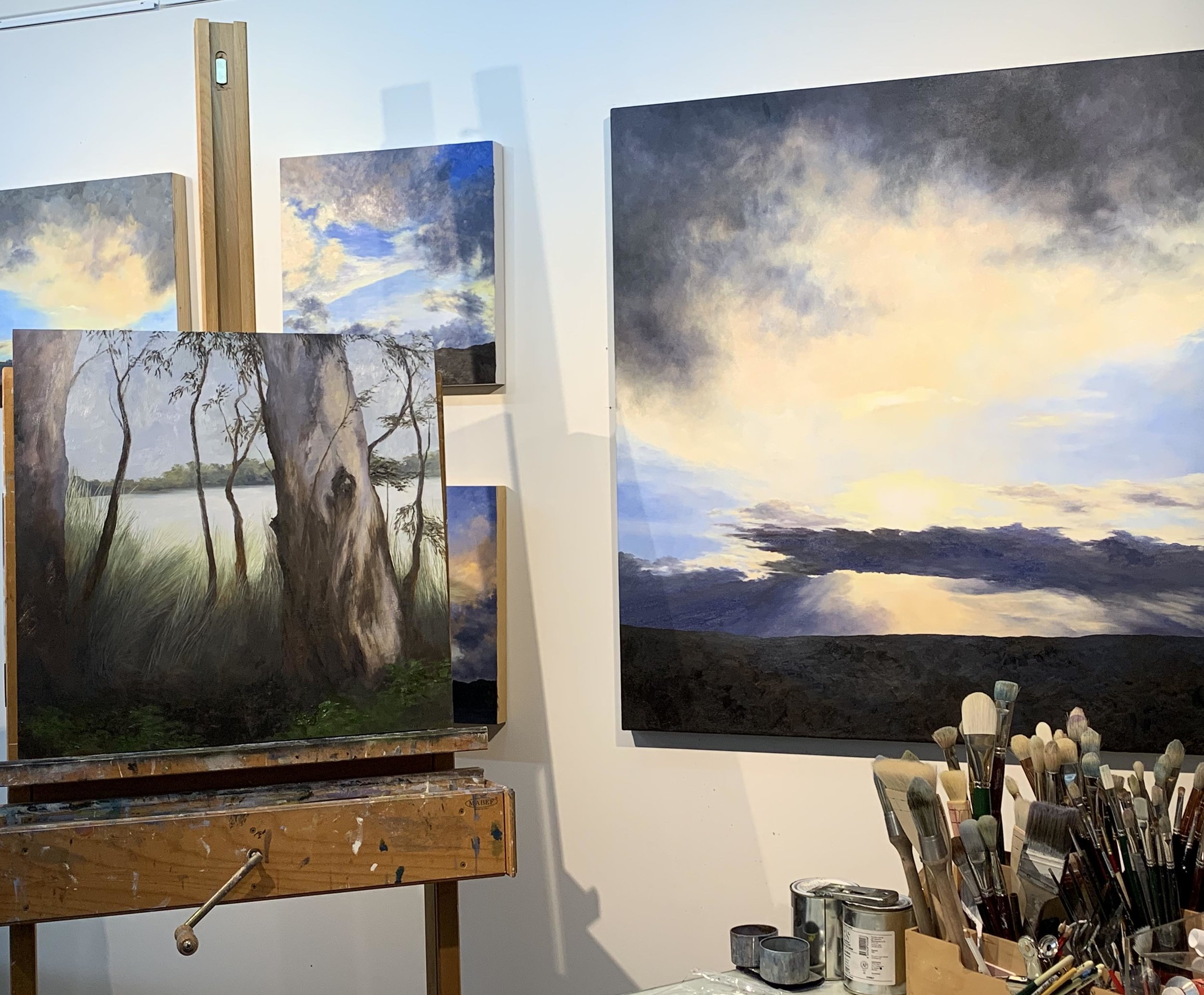 Recent work in the studio, including a commissioned painting on the easel.