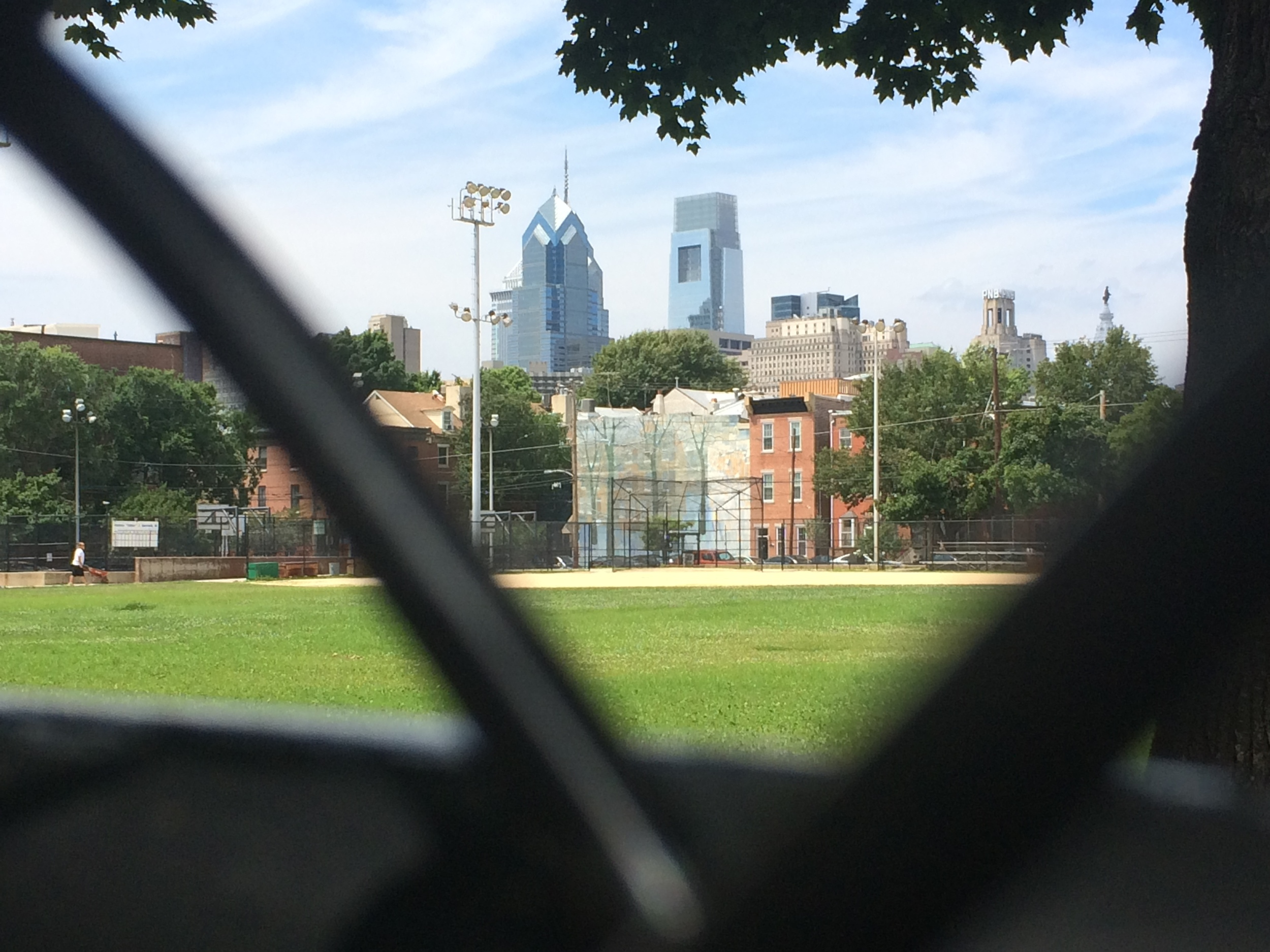 Philadelphia skyline from a park