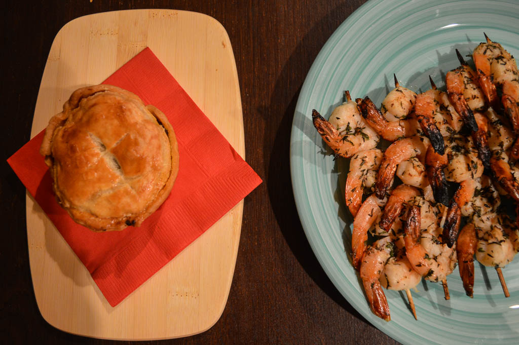 Australian meat pies and shrimp on the barbie