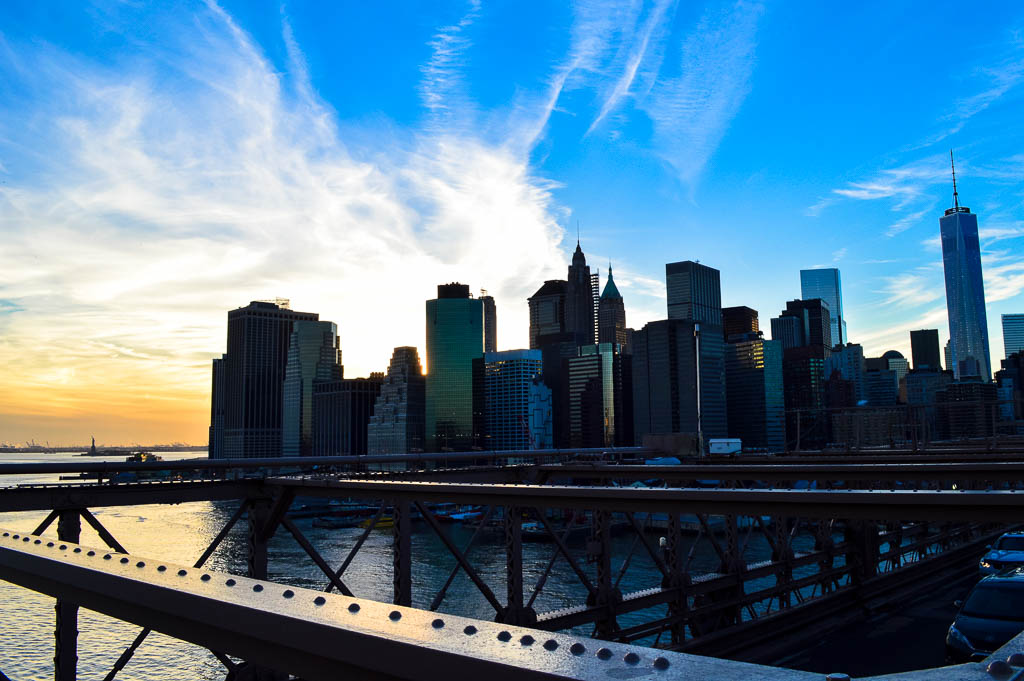 A View of the Financial District from Brooklyn Bridge