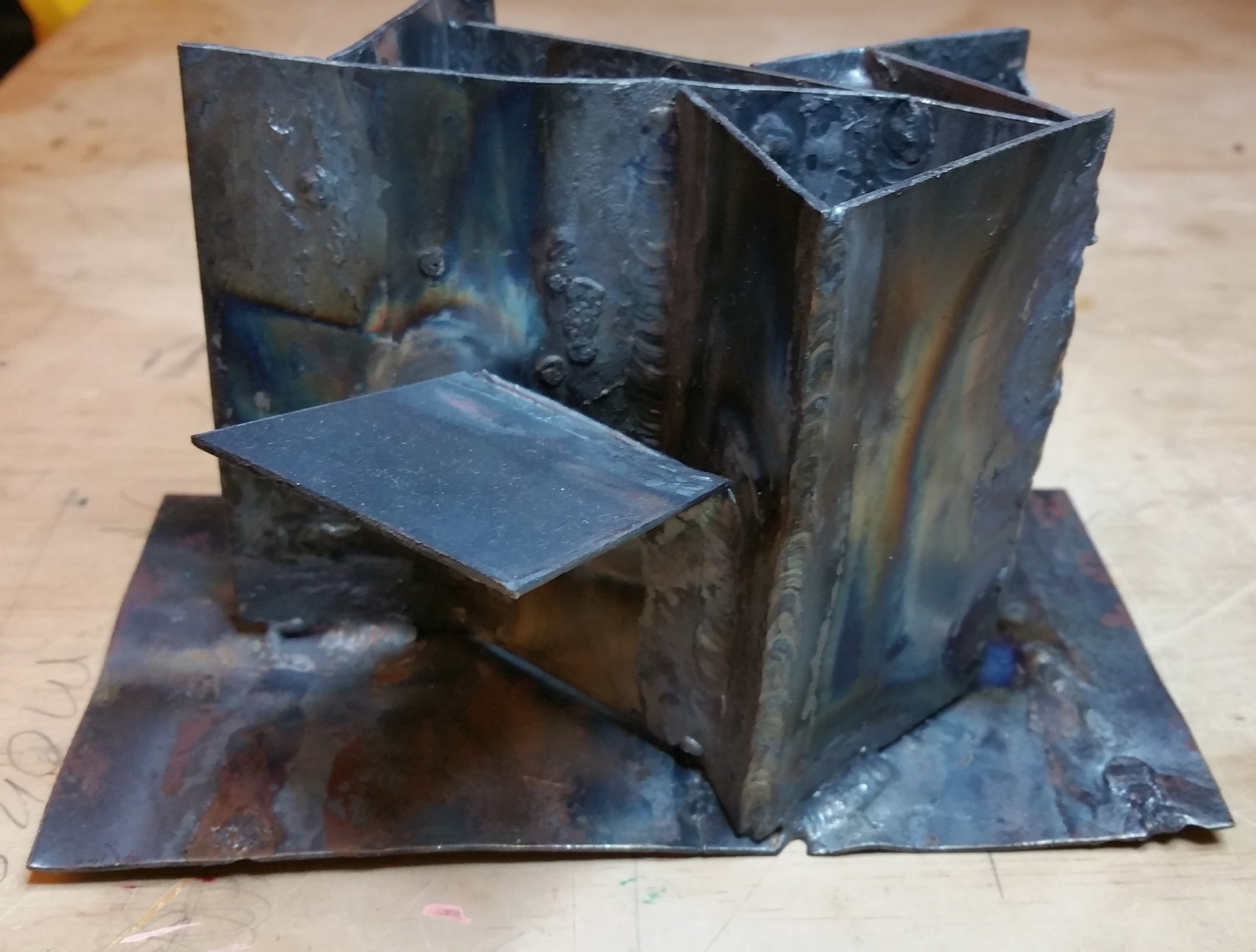 First attempt at welding various scraps at different angles
