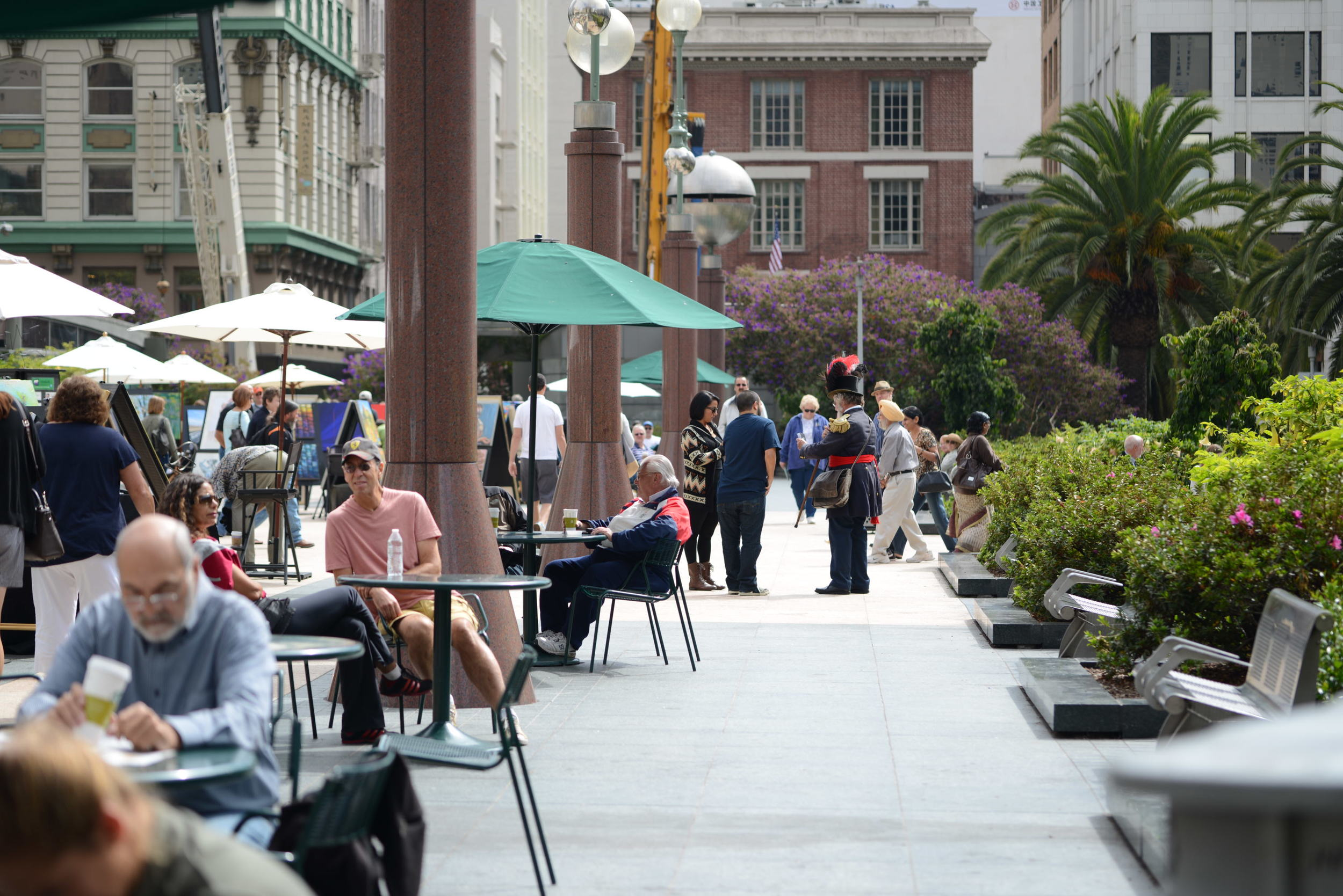 The trail took us through Union Square. We saw a tour guide dressed as Emperor Norton giving a couple some directions.