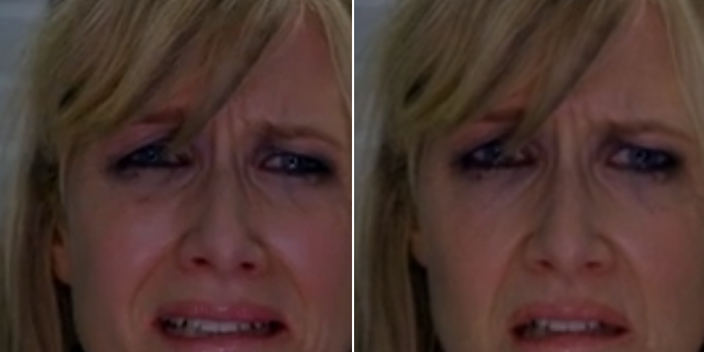 It's not so noticeable in this screenshot from Enlightened. However, notice how you can see the catchlights in Laura Dern's eyes much more clearly in HBOGo (Left).