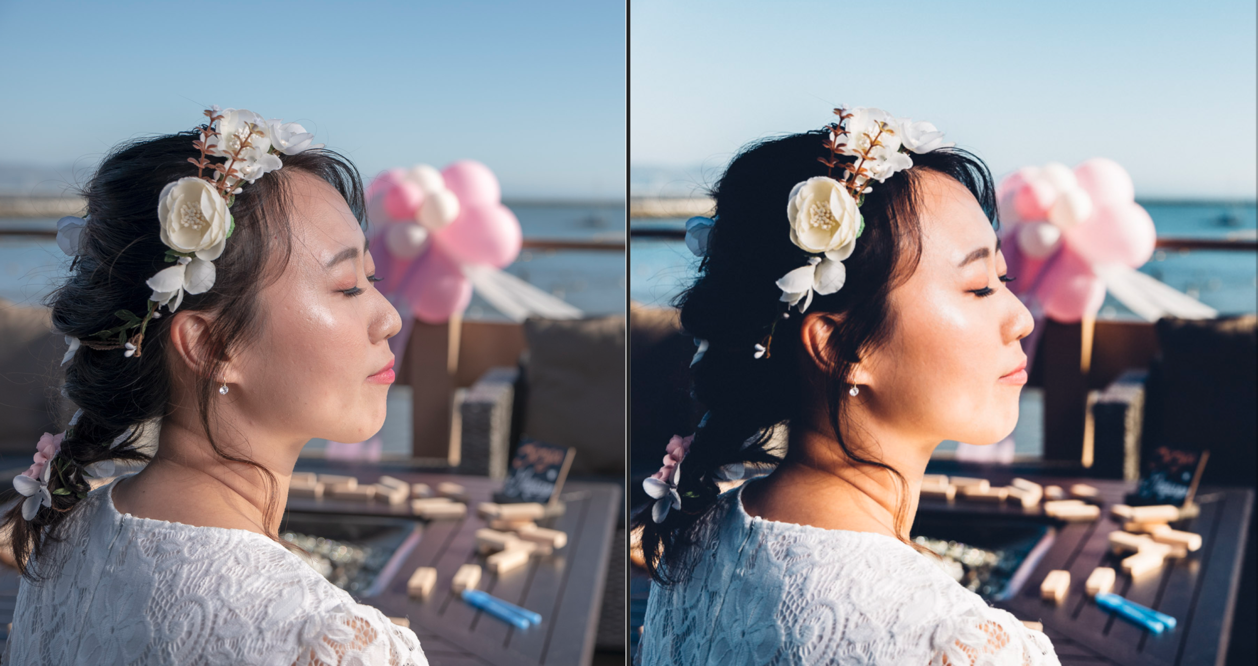 Optimizing contrast, brightness, and tone. (Edited photo on right).